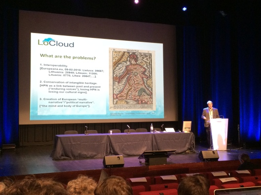 Photo of Rimvydas Lauzikas presenting during the Europeana Tech conference
