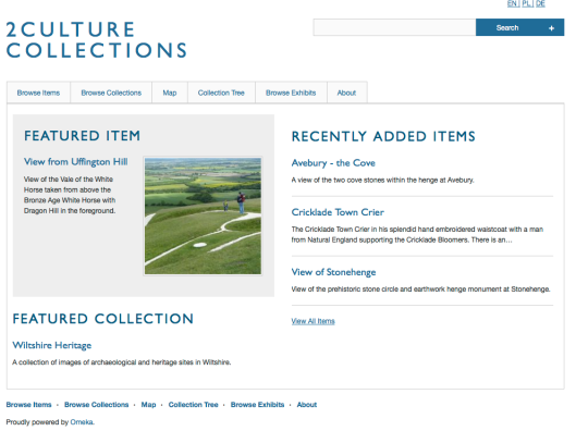 Screenshot of 2Culture Collections